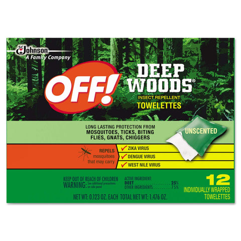 OFF! 611072BX Deep Woods Towelette, 0.28 Box, Unscented, 12 Box