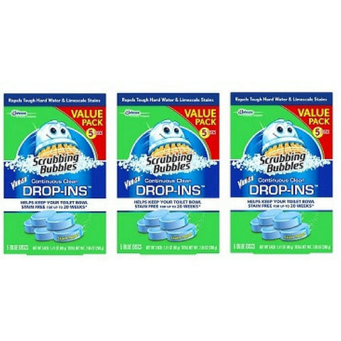 Scrubbing Bubbles Toilet Cleaner Drop Ins, 5 Count, 7.1 Ounce, (Pack of 3)
