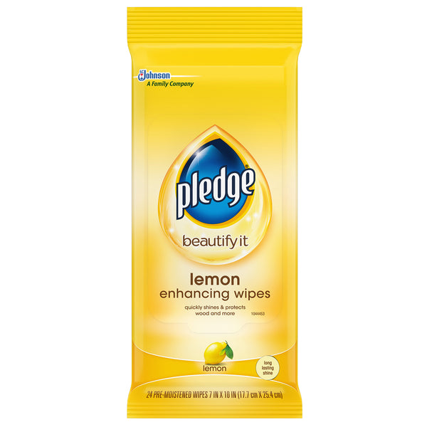 Pledge Lemon Enhancing Wipes 24 Pieces - 12 Pack