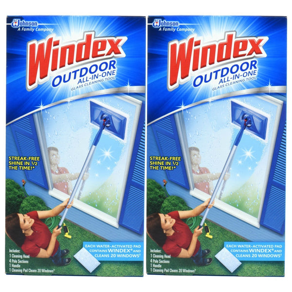 Windex Outdoor All-in-One Starter Kit 2 count, All-in-one glass cleaning tool, Streak free shine