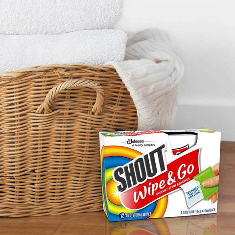 Shout Wipe & Go Instant Stain Remover Wipes 12 Pieces - 12 Pack