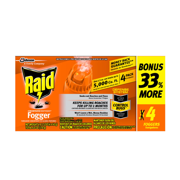 Raid Concentrated Pest Control Deep Reach Fogger, 1.5 oz, 4 count, 4 pack