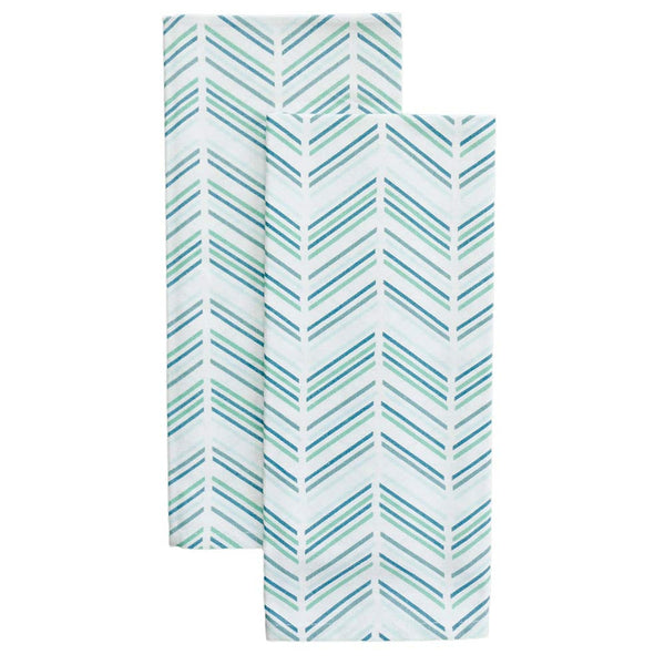 Jade Modern Chevron Tea Towels, Set of 2