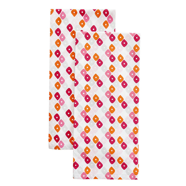 Pomegranate Candy Lattice Tea Towels, Set of 2