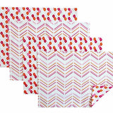 Pomegranate Candy Lattice + Modern Chevron Placemats, Set of 4