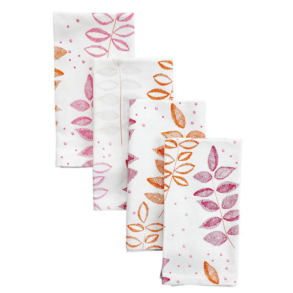Pomegranate Etched Leaf Napkins, Set of 4