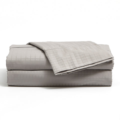 Grey 300 TC Bamboo/Cotton Modern Grid Sheet Set
