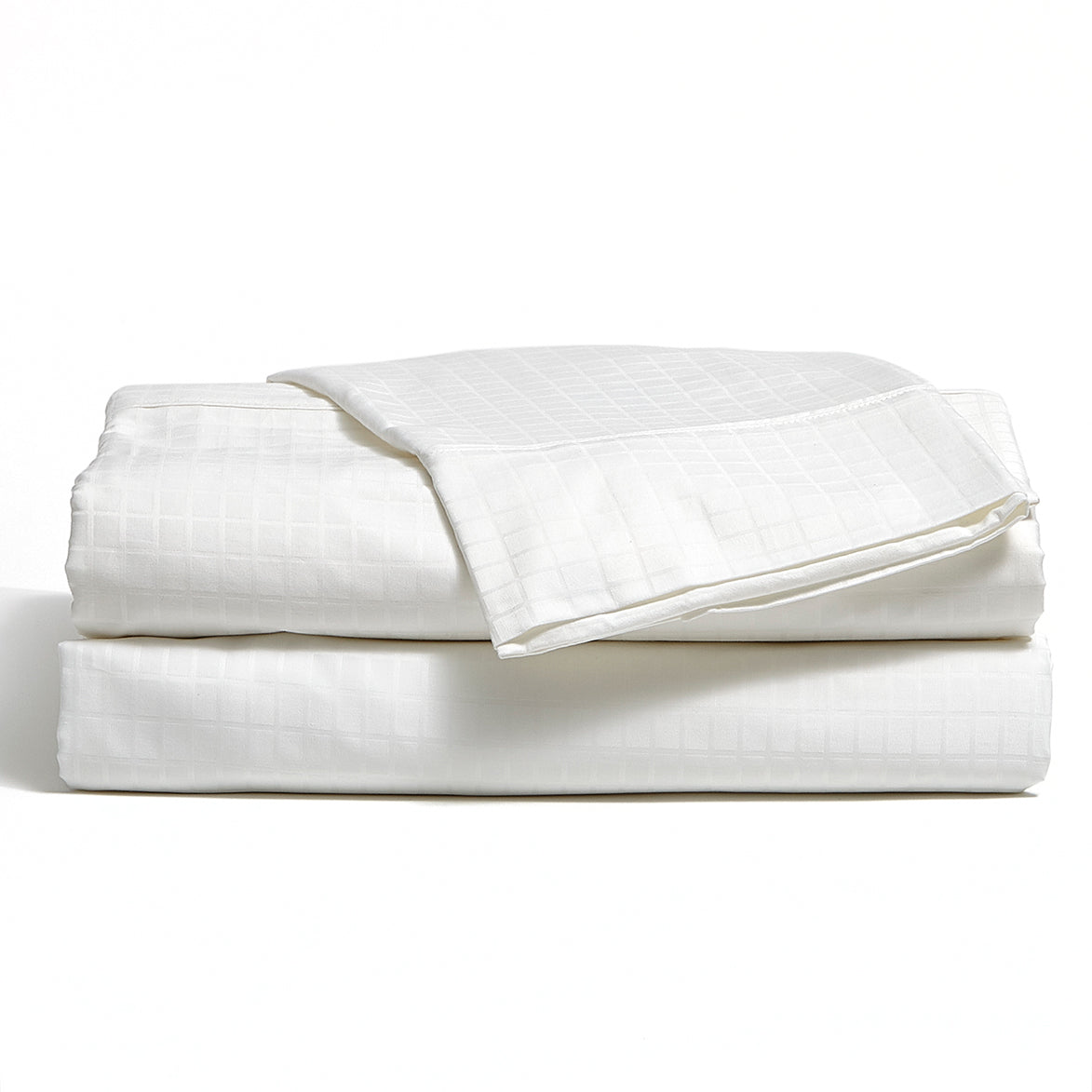 White 300 TC Bamboo/Cotton Modern Grid Sheet Set