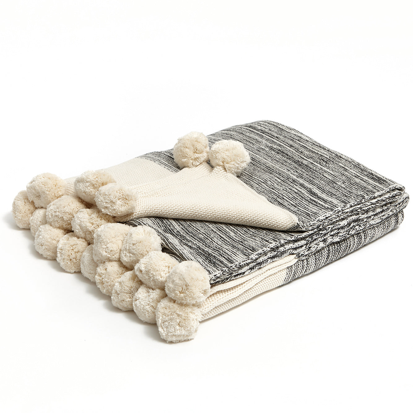 Black/Natural Pompom Knit Throw Blanket