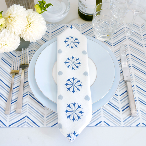 Celestial Chevron/Marble + Medallion Table Linen Ensemble