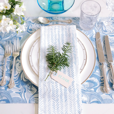 Celestial Marble/Chevron + Etched Chevron Table Linen Ensemble