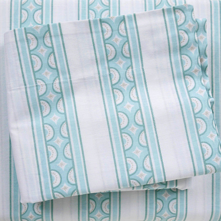 Jade Teacup Stripe Duvet Cover + Sham Set (sizes: king)