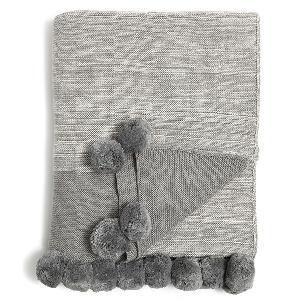 Grey Pompom Knit Throw Blanket
