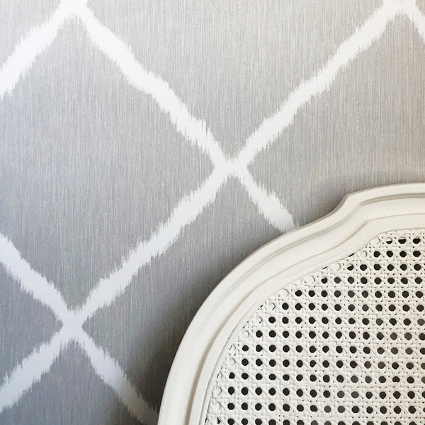 Ikat Trellis Sterling Wallpaper