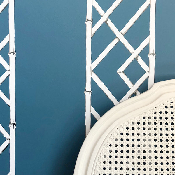 Latticework Indigo Wallpaper