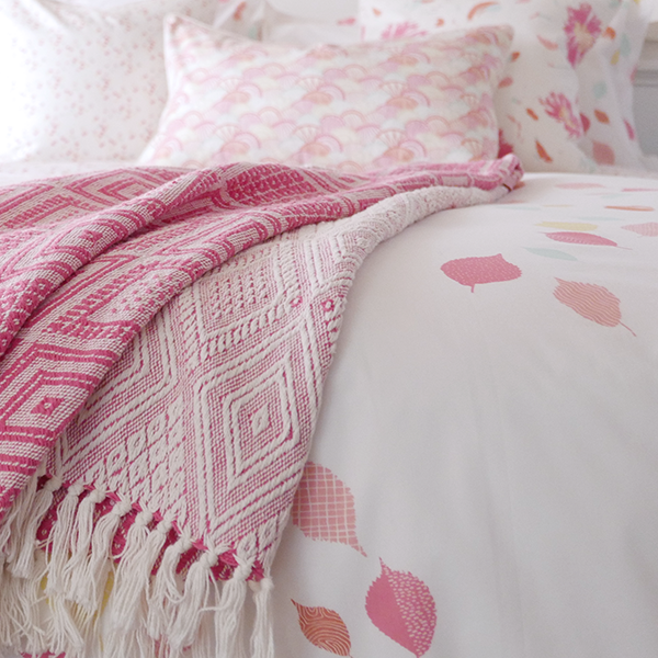 Coral Leaves Duvet Cover + Sham Set