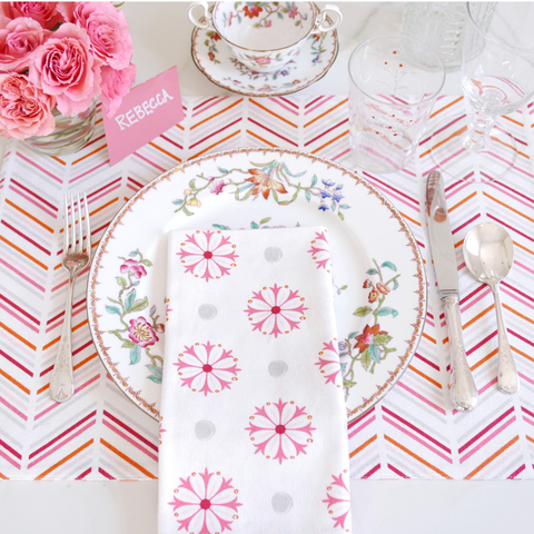 Pomegranate Chevron/Candy + Medallion Table Linen Ensemble