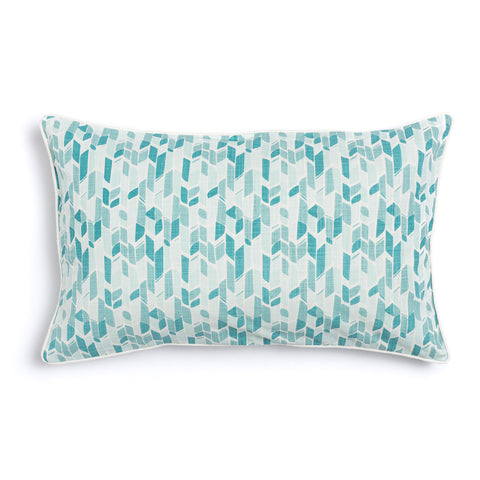 "Seaglass 16"" x 26"" Peaks + Bamboo Reversible Accent Pillow"