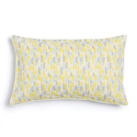 "Lemon 16"" x 26"" Scallop + Bamboo Reversible Accent Pillow Cover"