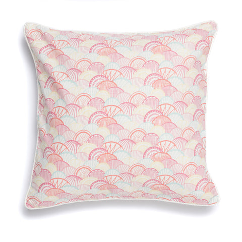 "Coral 20"" x 20"" Scallop + Confetti Reversible Accent Pillow Cover"