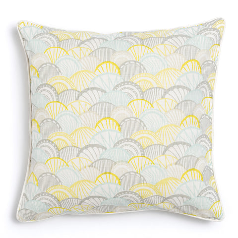 "Lemon 20"" x 20"" Scallop + Bamboo Reversible Accent Pillow"