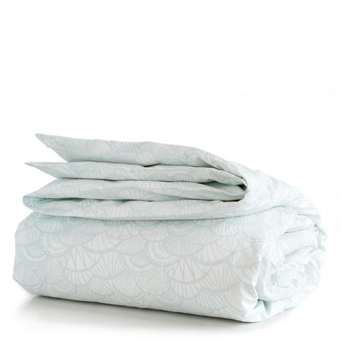 Seaglass Scallop Duvet Cover + Sham Set (size: twin)