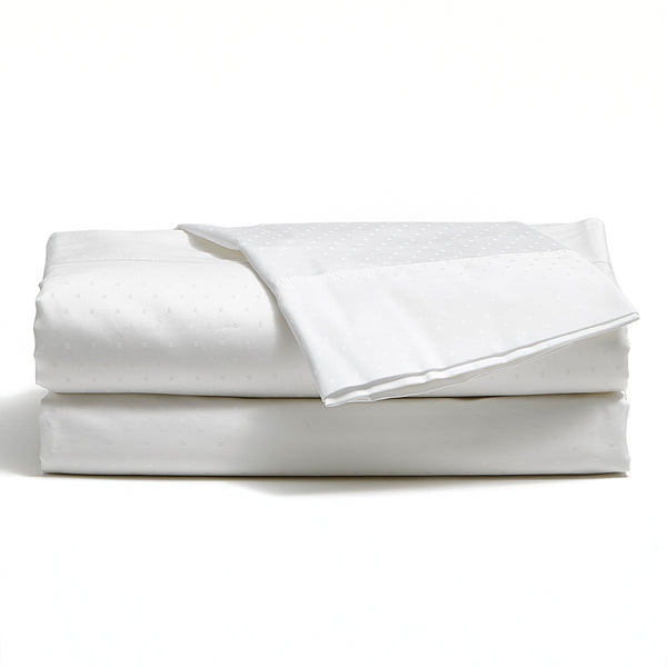 White 500 TC Egyptian Cotton Classic Dot Sheet Set