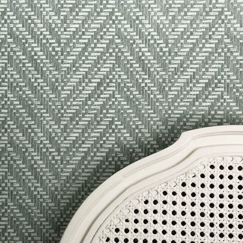 Ziggity Graphite Grasscloth Wallpaper