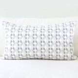 "Birch 16"" x 26"" Block Print Peony + Candy Lattice Reversible Accent Pillow Cover"