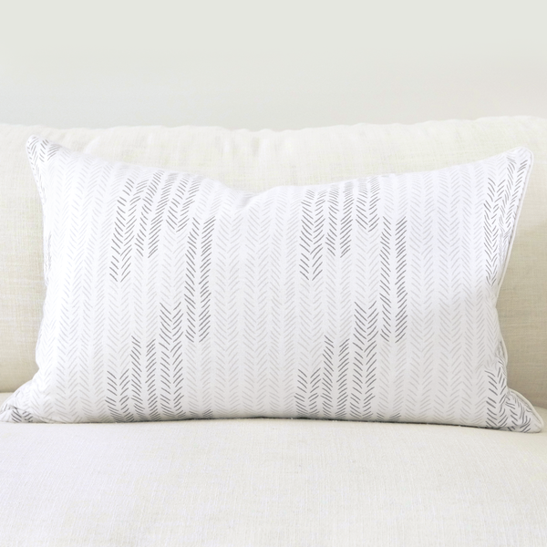 "Birch 16"" x 26"" Etched Leaf + Etched Chevron Reversible Accent Pillow"