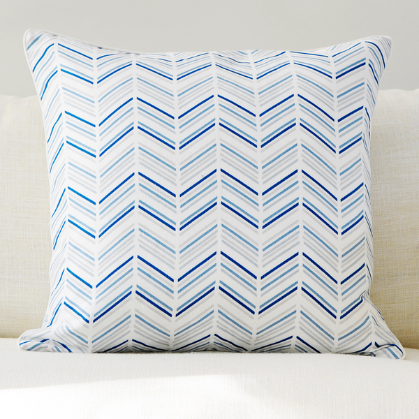 "Celestial 20"" x 20"" Modern Chevron + Marble Reversible Accent Pillow"