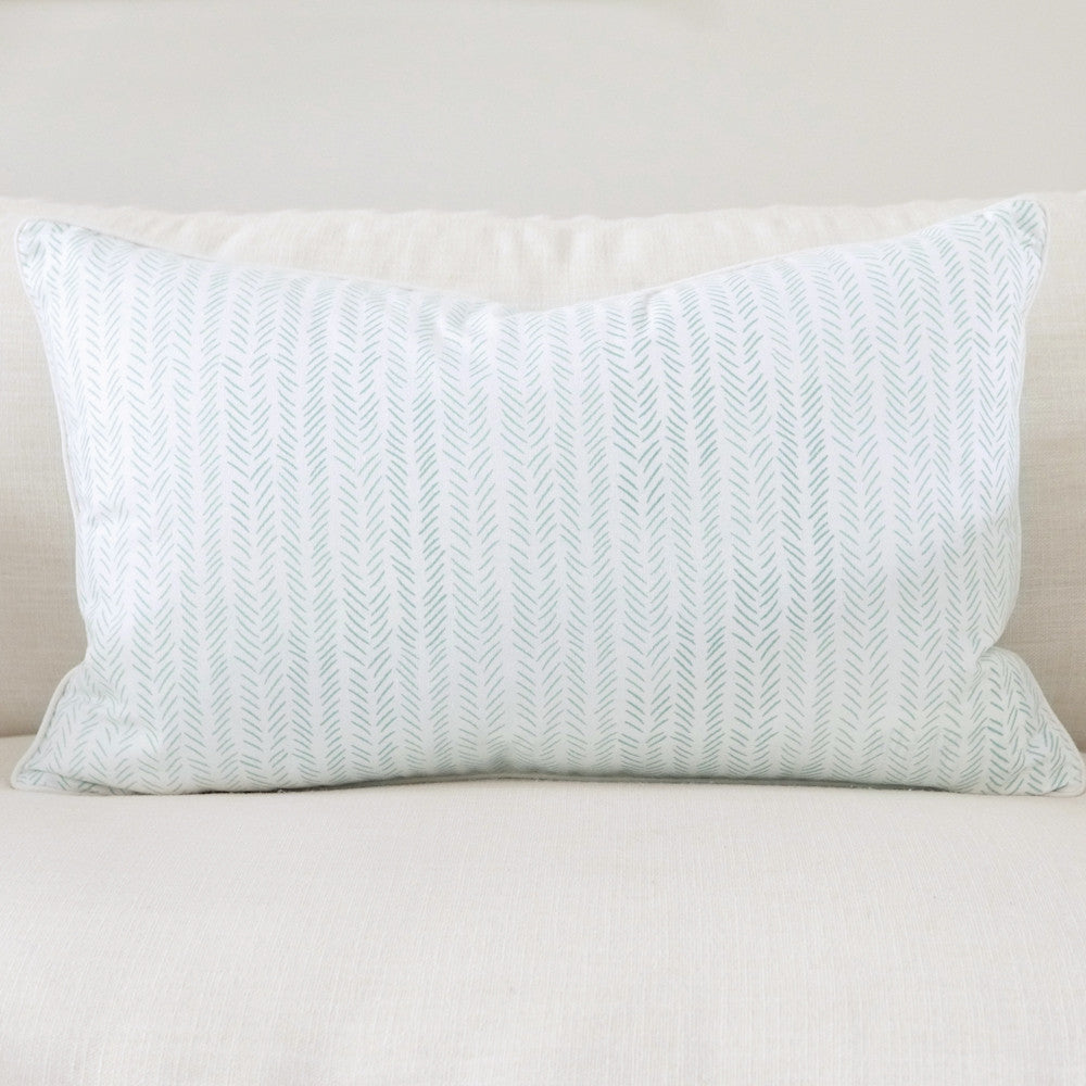 "Jade 16"" x 26"" Marble + Etched Chevron Reversible Accent Pillow Cover"