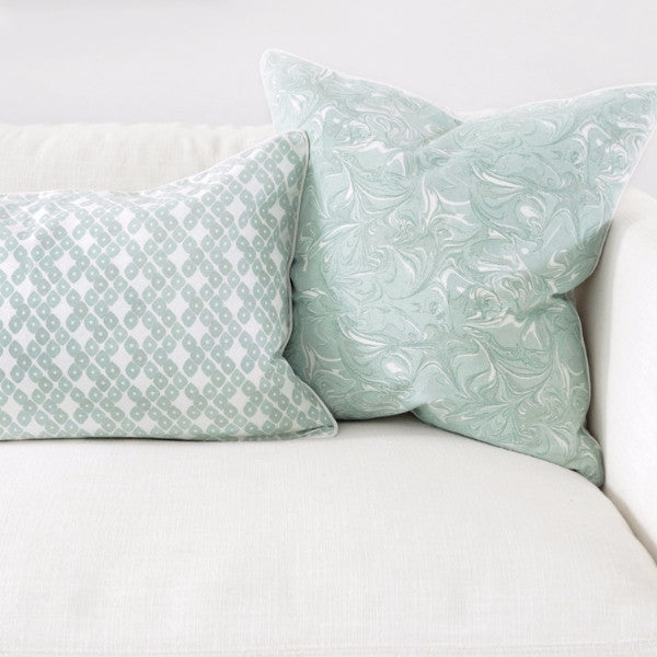 "Jade 16"" x 26"" Candy Lattice + Modern Chevron Reversible Accent Pillow Cover"