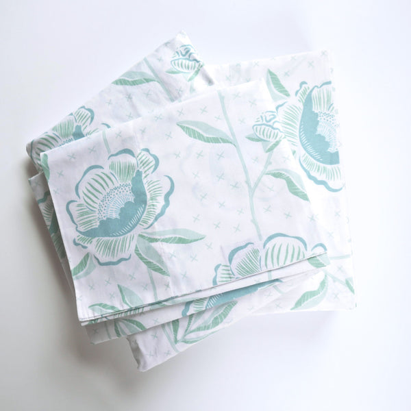 Jade Block Print Peony Sheet Set (sizes: twin, queen)