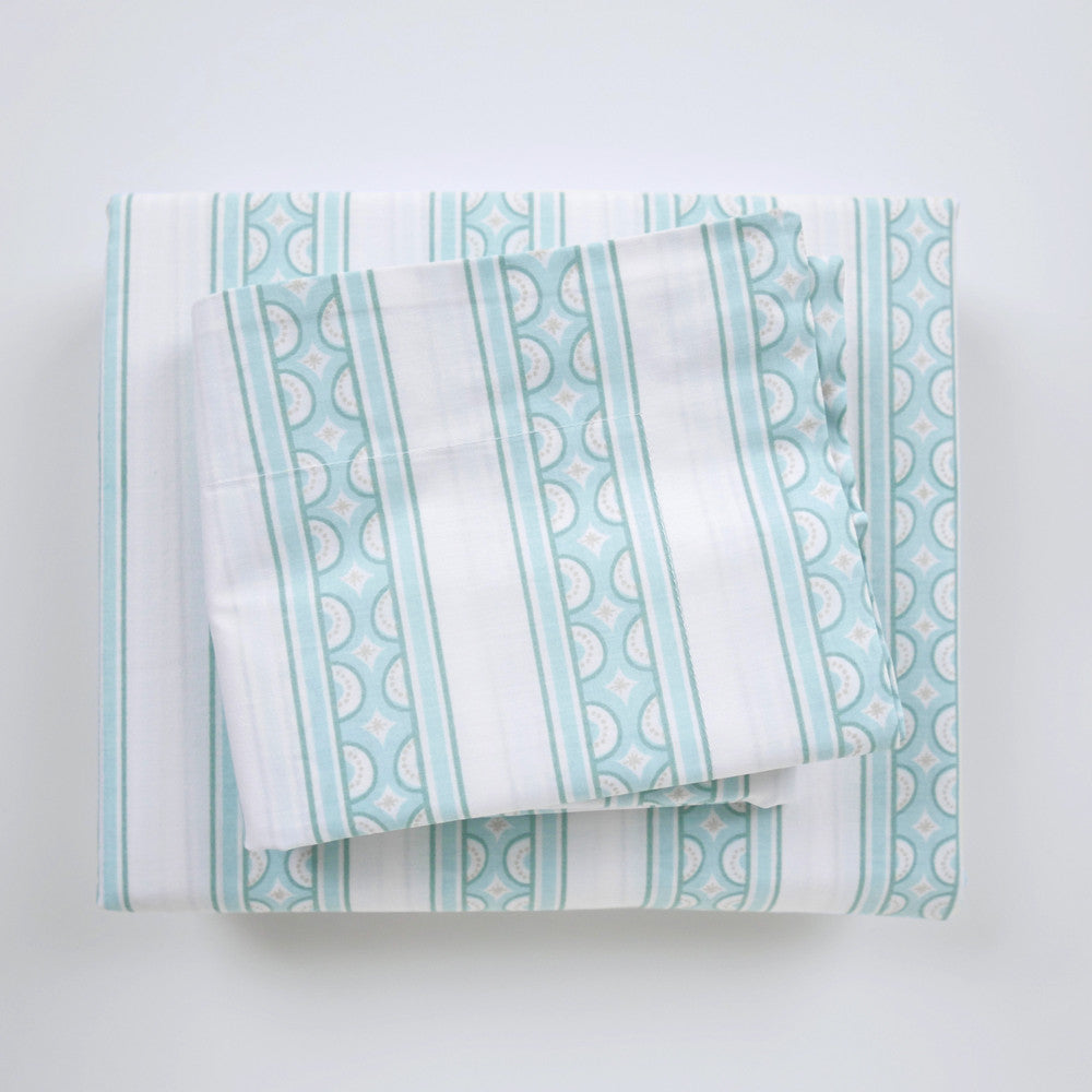 Jade Teacup Stripe Duvet Cover + Sham Set