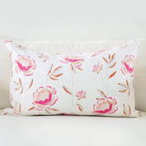 "Pomegranate 16"" x 26"" Block Print Peony + Candy Lattice Reversible Accent Pillow"