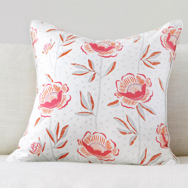 "Pomegranate 20"" x 20"" Block Print Peony + Candy Lattice Reversible Accent Pillow"