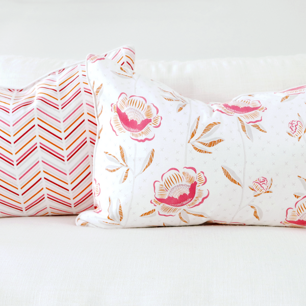 "Pomegranate 16"" x 26"" Block Print Peony + Candy Lattice Reversible Accent Pillow Cover"