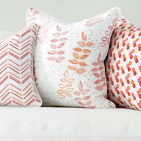 "Pomegranate 20"" x 20"" Modern Chevron + Etched Leaf Reversible Accent Pillow Cover"