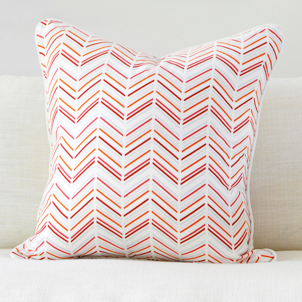 "Pomegranate 20"" x 20"" Modern Chevron + Etched Leaf Reversible Accent Pillow"
