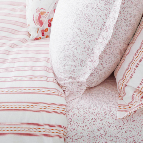 Pomegranate Ribbon Stripe Duvet Cover + Sham Set