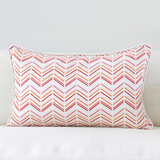 "Pomegranate 16"" x 26"" Modern Chevron + Etched Leaf Reversible Accent Pillow Cover"