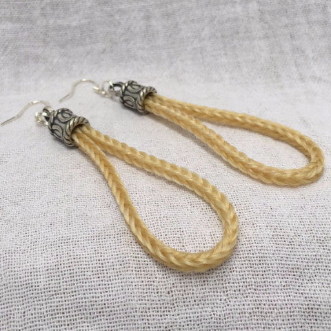 Horse Hair Loop Earrings with Square Braid