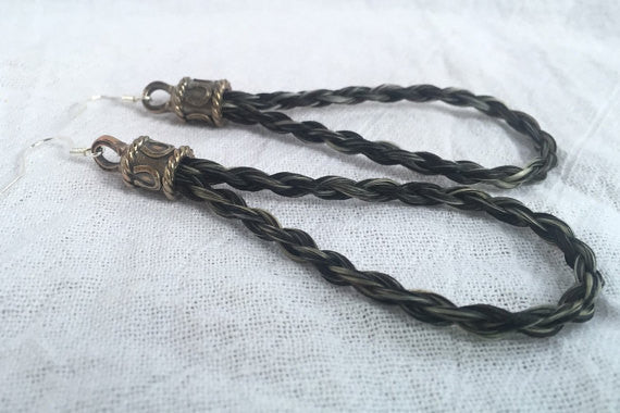 Horse Hair Loop Earrings with Round Braid