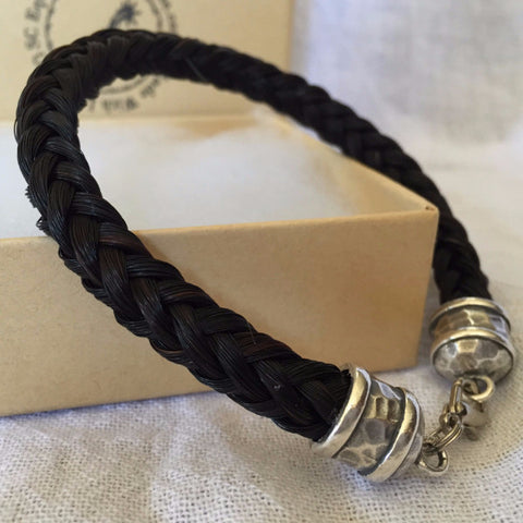 Chunky Horse Hair Bracelet with Hammered End Caps