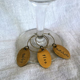 Custom Hand Stamped Wineglass Charm