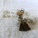Necklace with Keepsake Vial and Hand Stamped Heart Tag