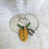 Wineglass Charm with Custom Hand-Stamped Tag, Beads, and Horseshoe Charm
