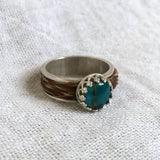 Sterling Silver Ring with 8mm Turquoise Gemstone & Braided Horse Hair Band