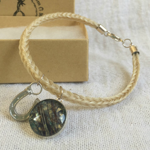 Horse Hair Bracelet with Sterling Silver Horse Shoe and Horse Hair Charm
